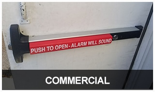 Image of a commercial door with a panic bar installed by Jon's Locks